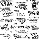 Fiskars Just Married - Lote de sellos con mensajes positivos en inglés (20,3 x 20,3 cm)