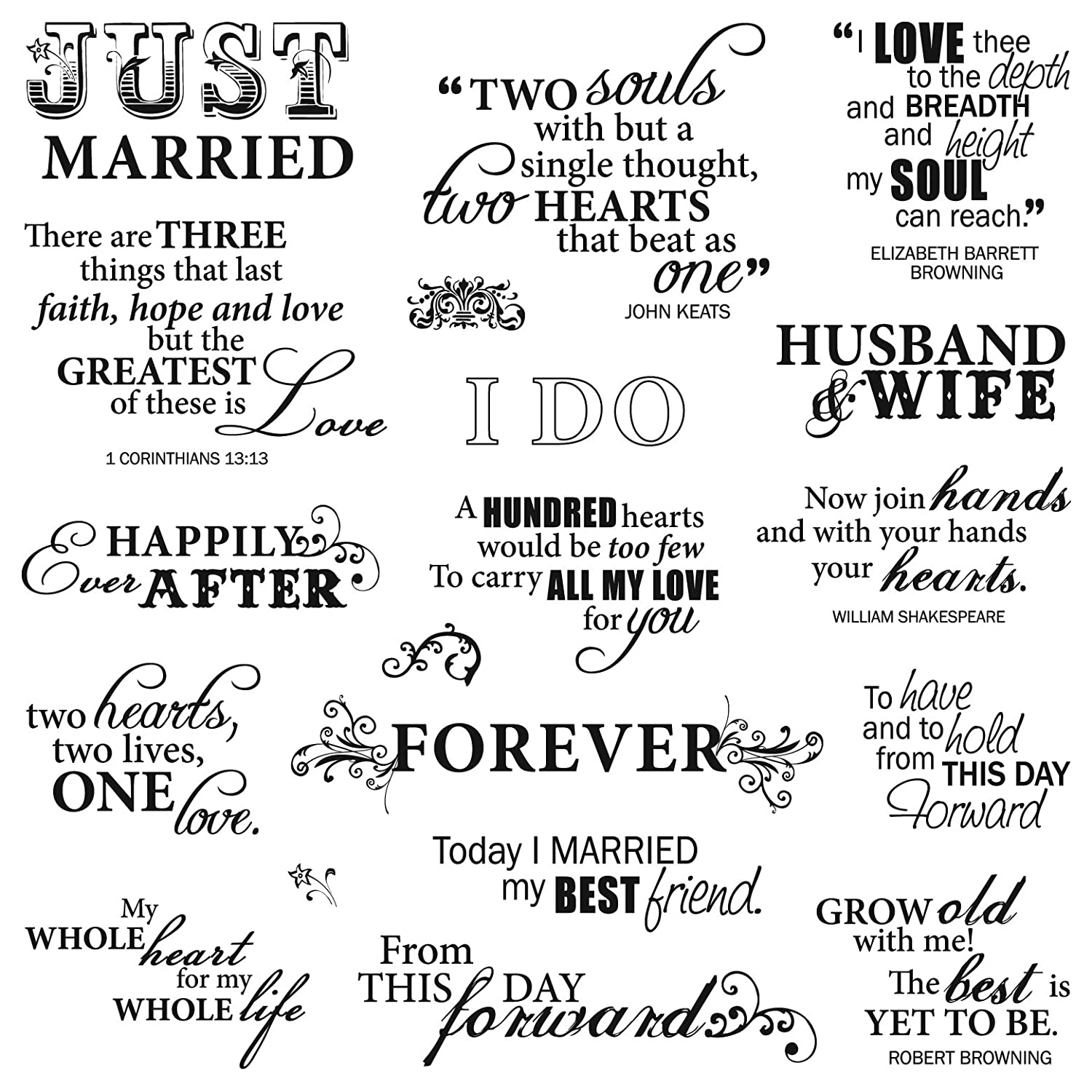 Amazon.com: Fiskars 8x8 Inch Just Married Clear Stamps: Arts, Crafts ...