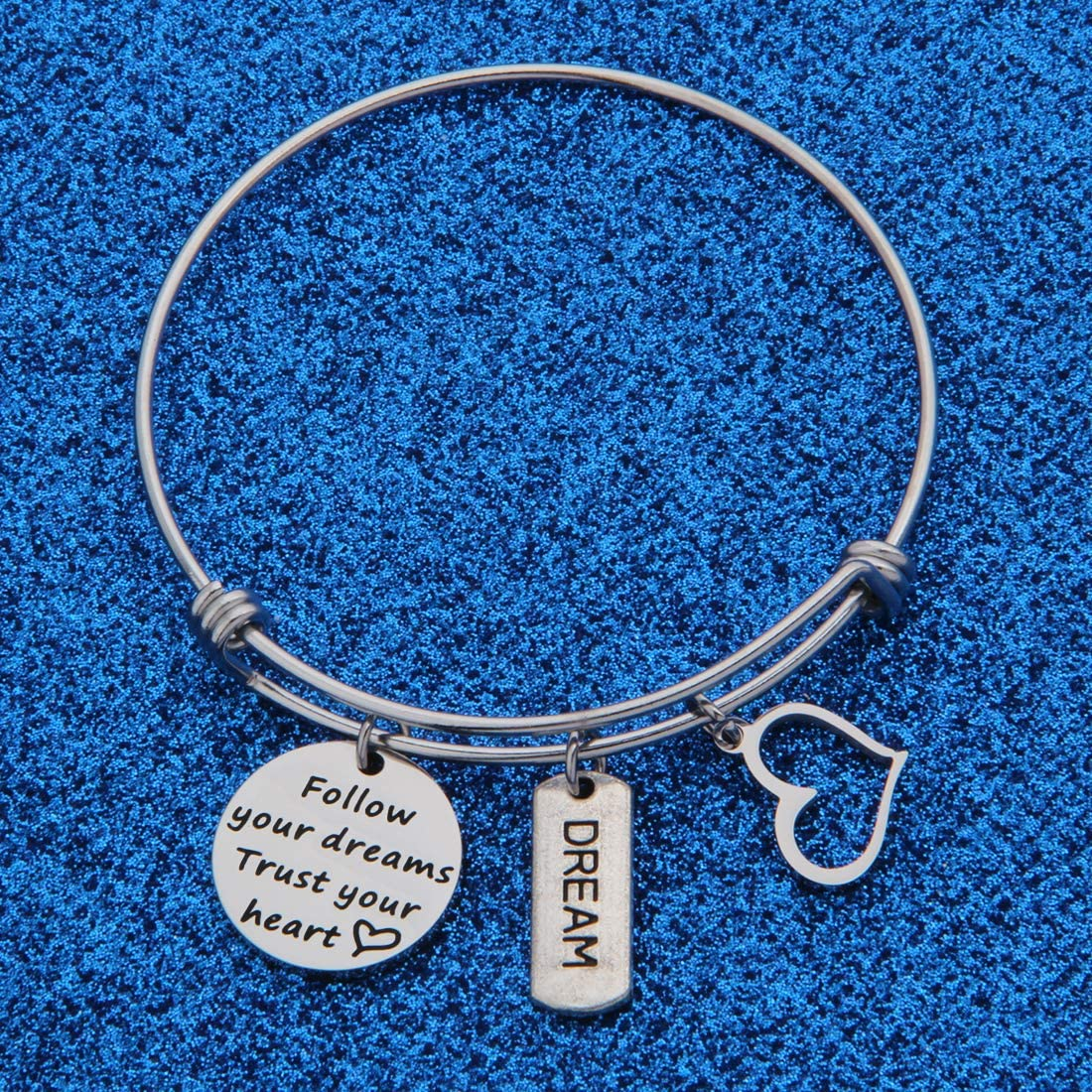 WUSUANED Follow Your Dreams Trust Your Heart Expandable Wire Bangle Bracelet Inspirational Gift for Her