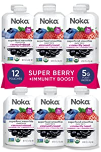 NOKA Superfood Immune Support Smoothie (Super Berry) 12 Pack, Organic Healthy Fruit Squeeze Pouch + Vitamin C, Vitamin B12, Elderberry, and Zinc, Gluten Free, Vegan Snack, 5g Plant Protein, 4.2oz Each