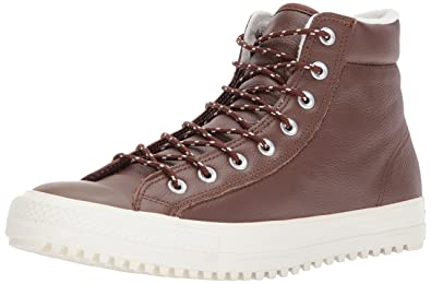 63dc8b570d60d2 Converse Unisex Chuck Taylor Boot PC Tumbled Leather Dark Clove Dark  Clove Egret Sneaker