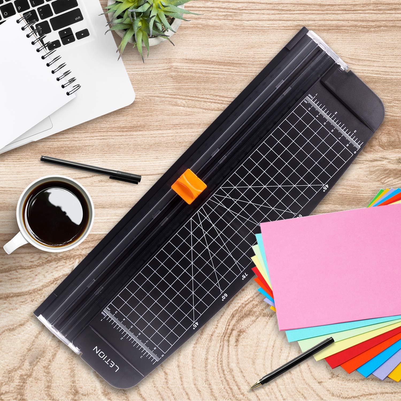 LETION Papierschneider A4 Papierschneidegerät Tragbare Papierschneidemaschine Fotoschneider Guillotine mit automatischem Sicherheitsschutz für Hause und Büro Papier,Bastelpapier Schwarz
