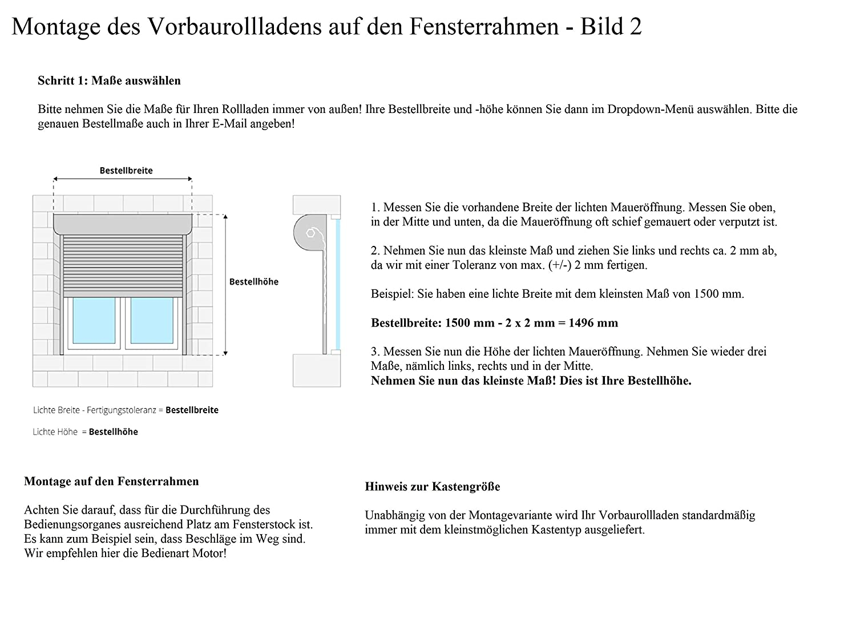 PVC-Kunststoff-Profil 37 mm 1401-1600 mm x 801-1000 mm B x H halbrunder Rollladenkasten Motor jarolift Basic Vorbaurollladen Rolladen auf Ma/ß