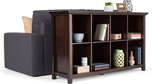 Simpli Home Acadian SOLID WOOD 57 inch Wide Rustic Contemporary Modern 8 Cube Storage Console Sofa Entryway Table in Brunette Brown with Storage, 8 Shelves, for the Living Room, Entryway and Bedroom
