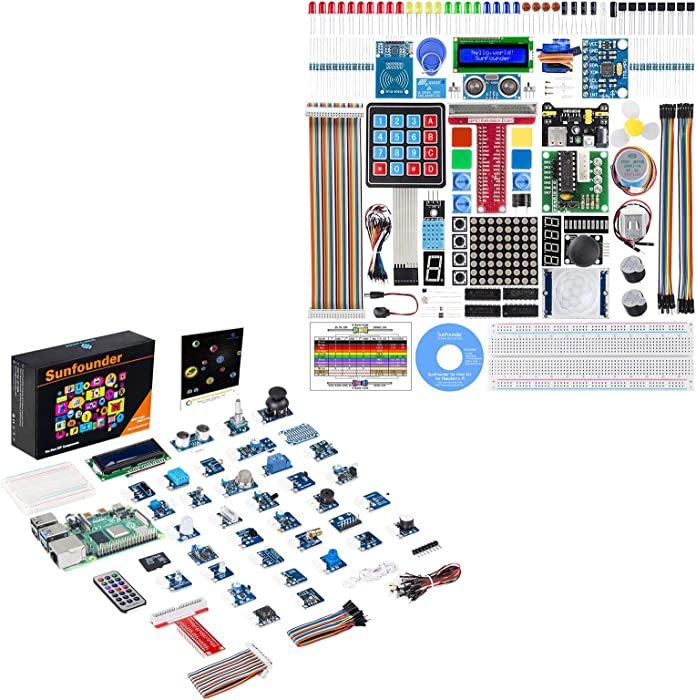 SunFounder Raspberry Pi Sensor Kit and Raspberry Pi Starter Kit with Tutorials Compatible with Raspberry Pi 4B 3B+, Support Python C, Learn Electronics and Programming for Raspberry Pi Beginners