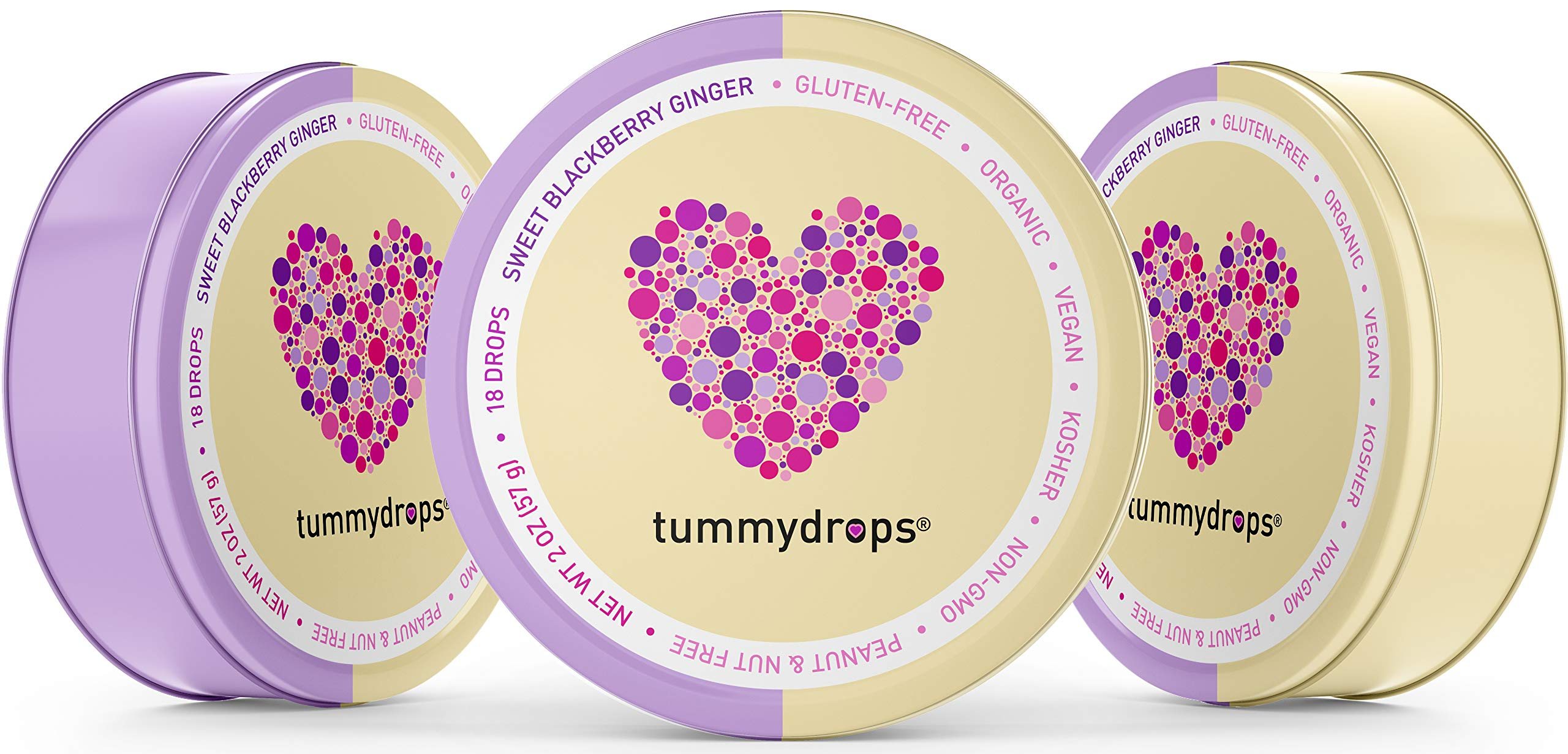 Organic Sweet BlackBerry Ginger Tummydrops (Pack of 3 Tins-54 Total Drops)