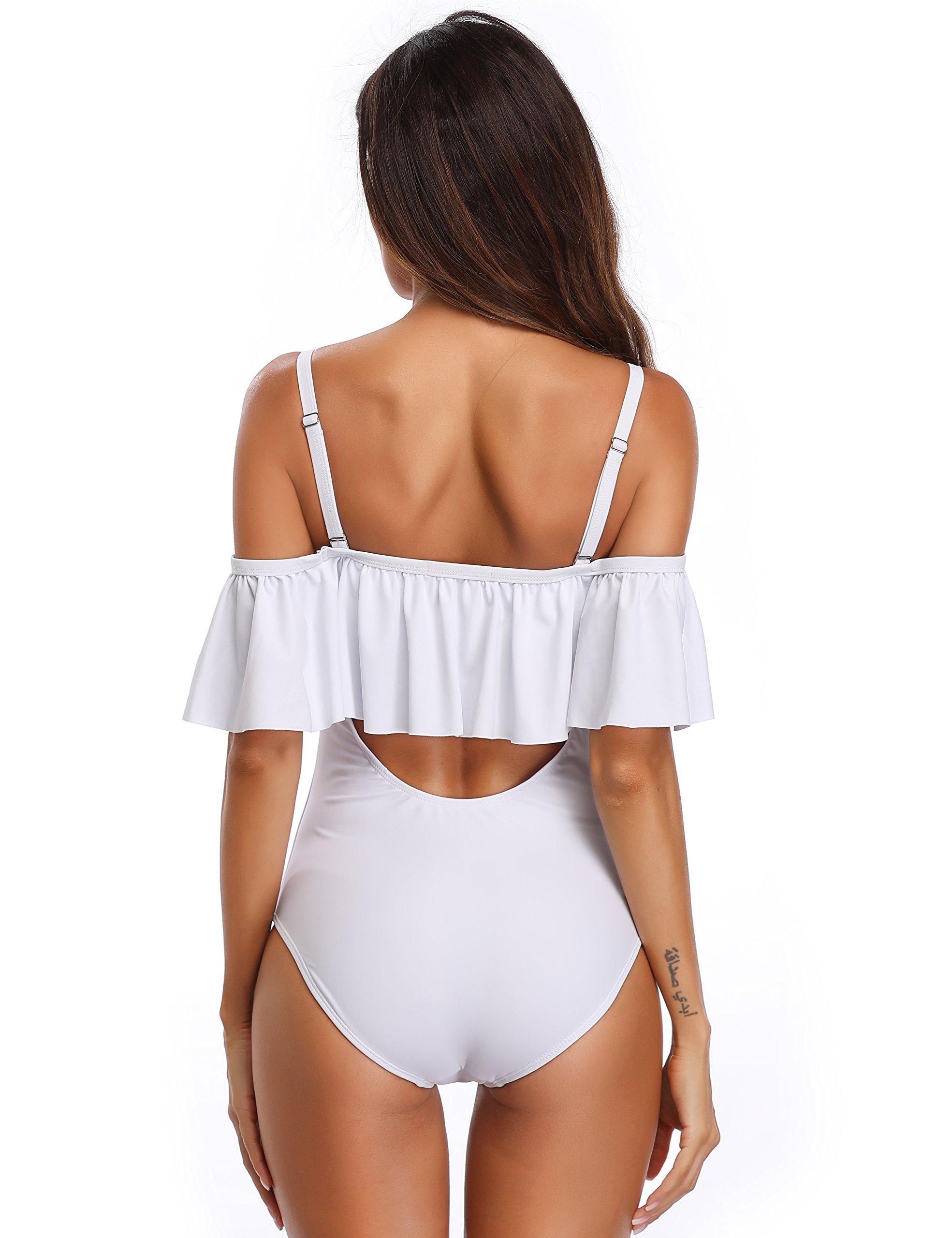 MarinaVida Women Off Shoulder One Piece Swimsuit Ruffled Bathing Suits