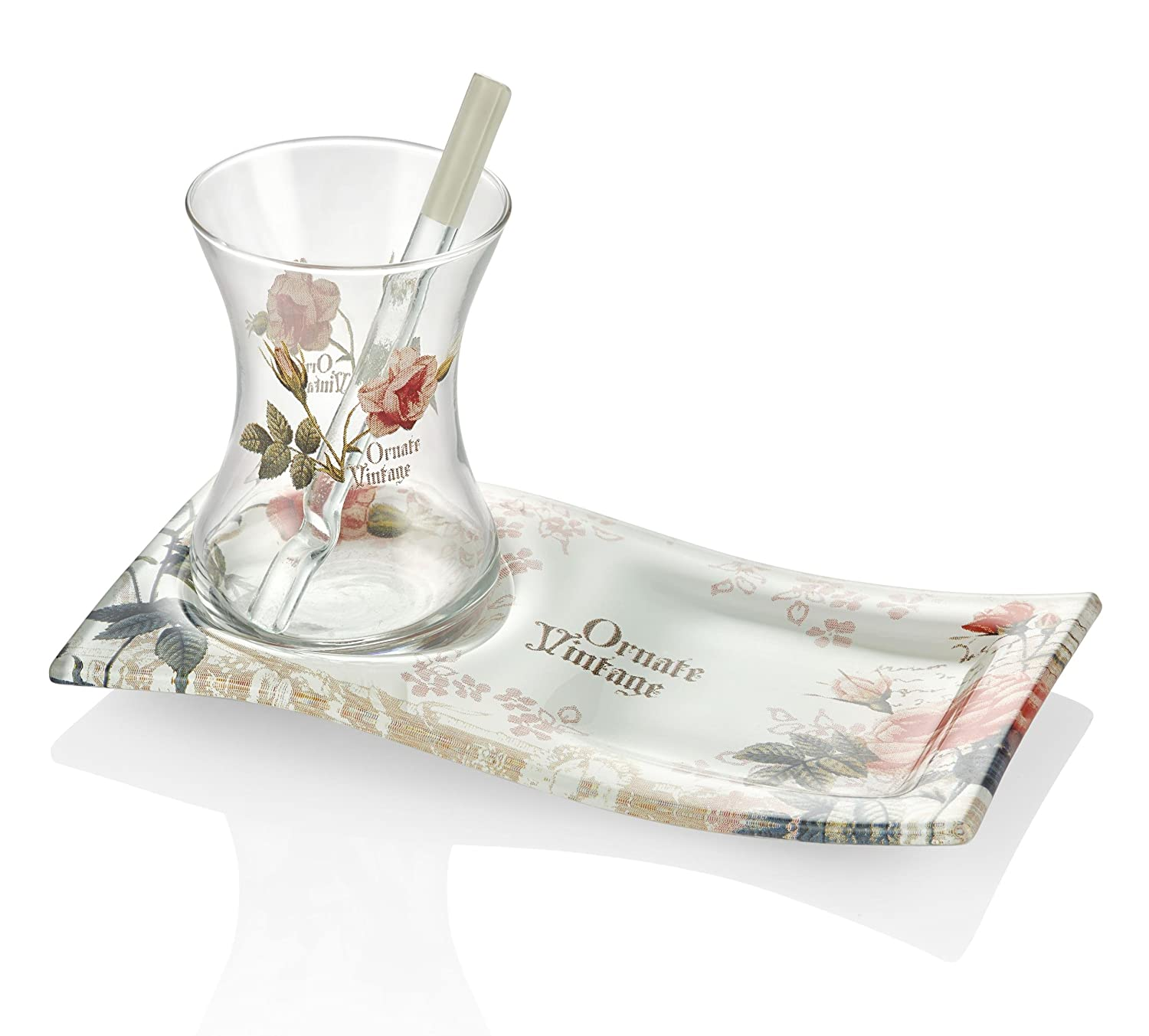 /Oriental Turkish Tea Glasses Set in a modern look Cay Bardagi Saucer Square Sensation 18/Piece Tea Set Made of High Quality Glass for Hot Drinks/