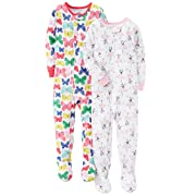 Carter's Baby Girls' 2-Pack Cotton Pajamas, Ballerina/Butterfly, 12 Months