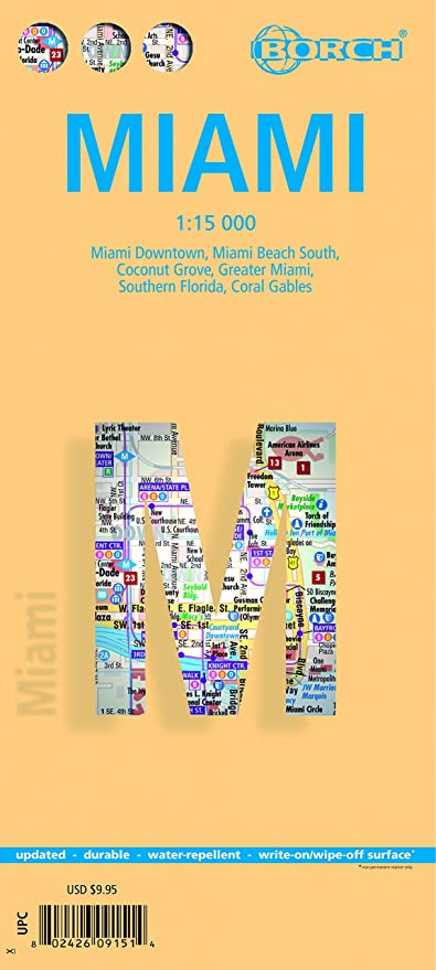 Amazoncom Miami Fl Laminated Borch Us City Map Office Products - Us-map-miami