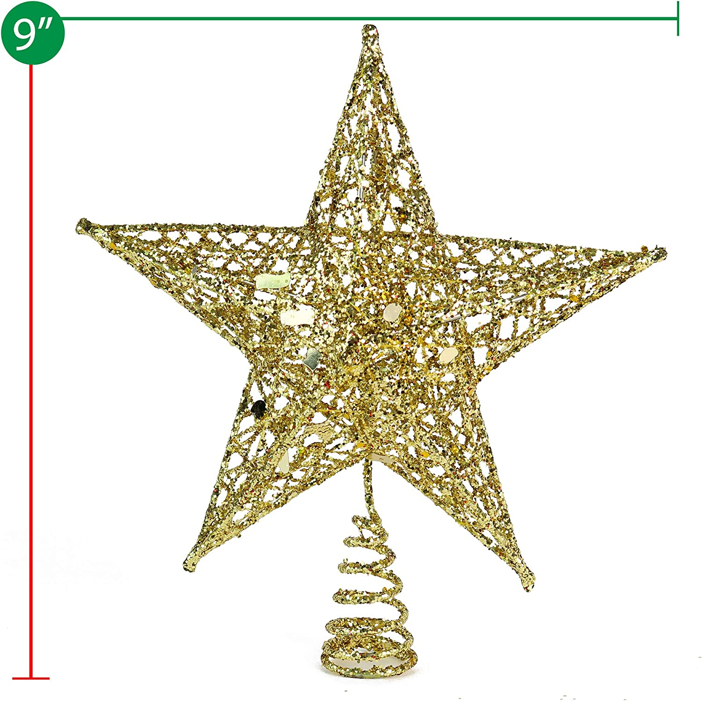Ornativity Gold Star Tree Topper Christmas Glitter Star Ornament Treetop Decoration Kitchen Dining