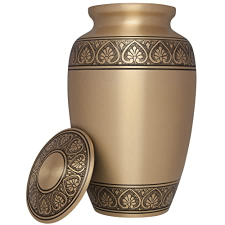 Cremation Urn for Adult Ashes – Hand Engraved urn for Human Ashes in a Gold Design – Large Metal Hand Finished Burial and Funeral Cremation Urn – Memorial Urn for Human Ashes in Solid Brass Metal