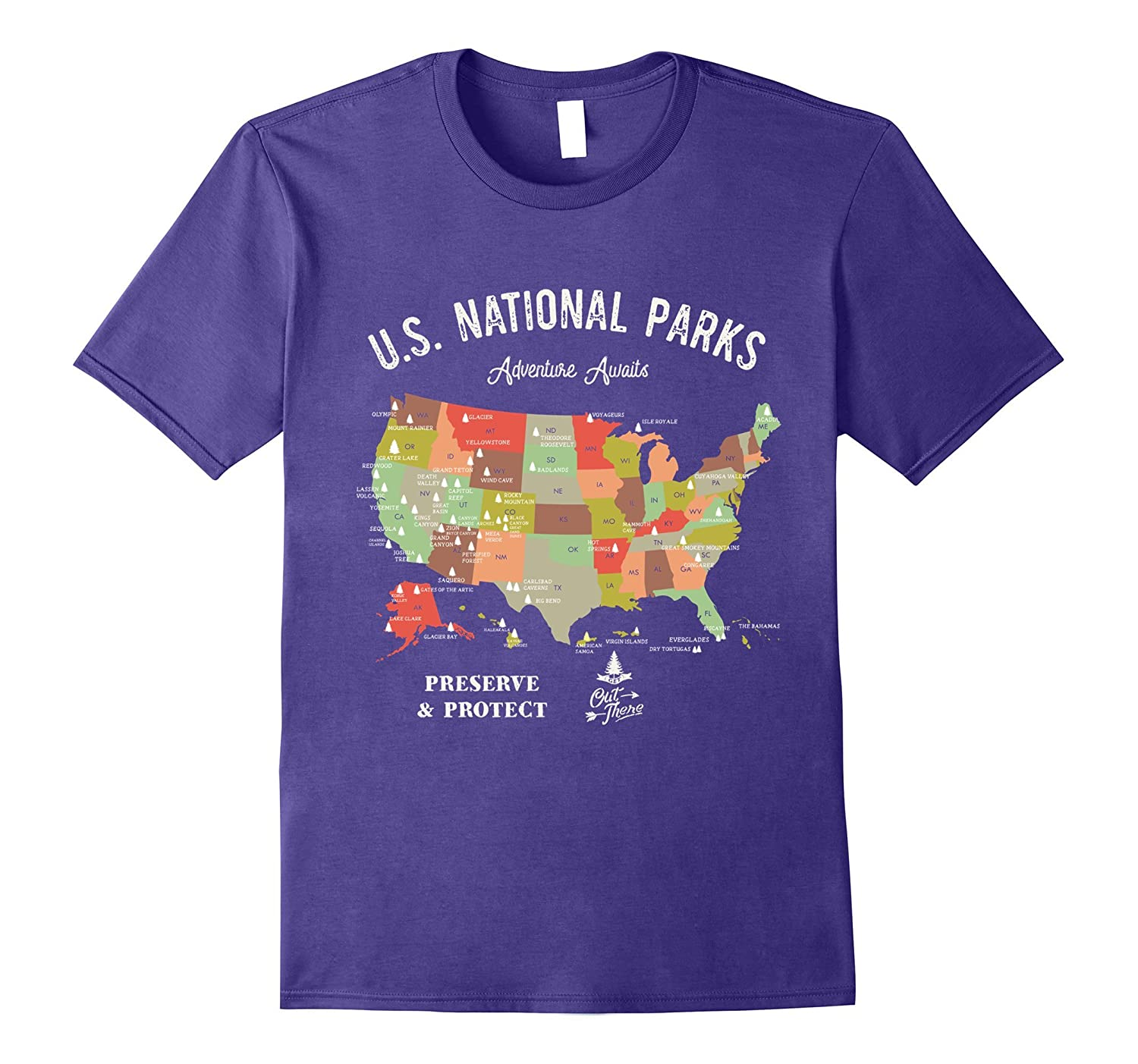 National Park Map Vintage T-Shirt Hiking Camping T Shirt-T-Shirt