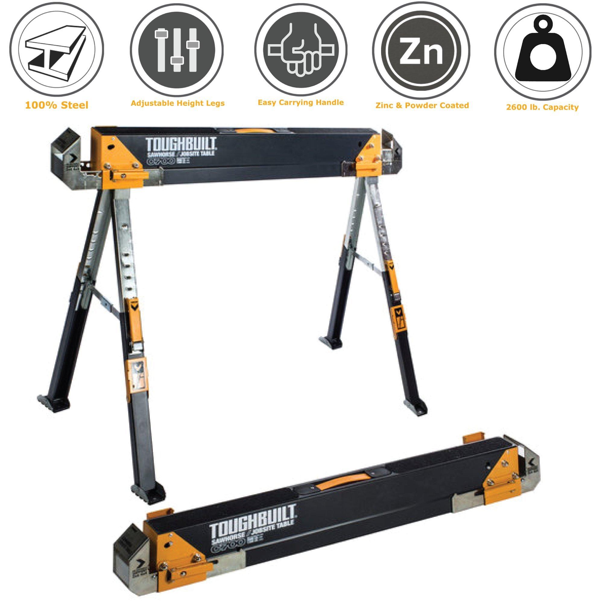 ToughBuilt - Folding Sawhorse/Jobsite Table - Sturdy, Durable, Lightweight, Heavy-Duty, 100% High Grade Steel, 1300lb Capacity, Pivoting Feet, Adjustable Height Legs, Easy Carry Handle (TB-C700) NEW