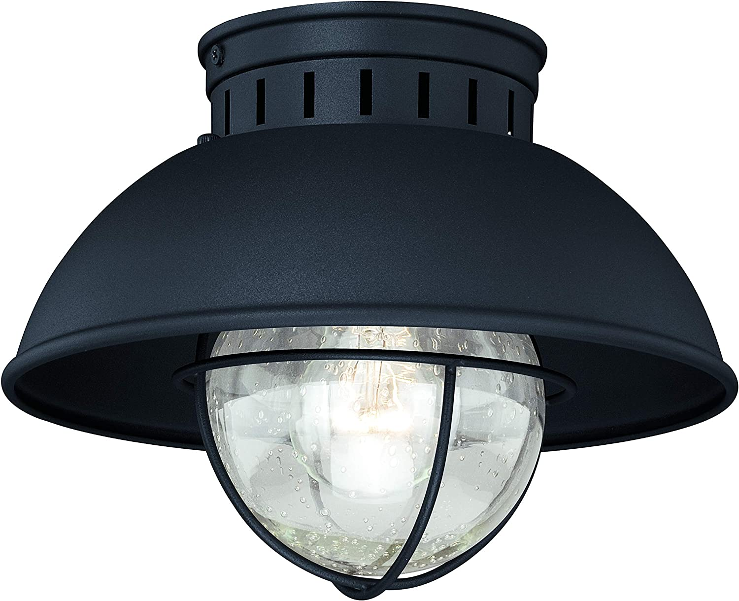 VAXCEL Indoor Outdoor Ceiling Light - Harwich Textured Black and Clear Seeded Glass Semi Flush Mount Light Fixture, Farmhouse, Coastal, Nautical Decor, Ideal for Carport, Front Porch, Patio, Entryway