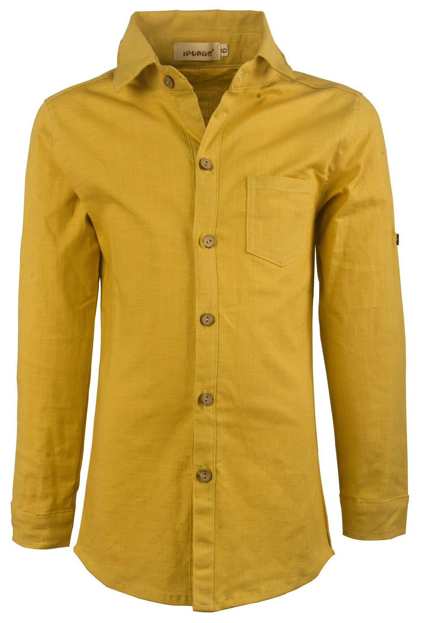 Ipuang Little Boys Linen Long Sleeve Button-Down Collar Shirt Top 5t Ginger