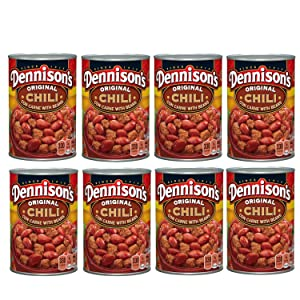Dennisons Original Chili Con Carne with Beans 15 Oz Can (Pack of 8) - 7 LB Total - No Preservatives, Made with All Natural Beef & Pork, Excellent Source of Protein and Iron