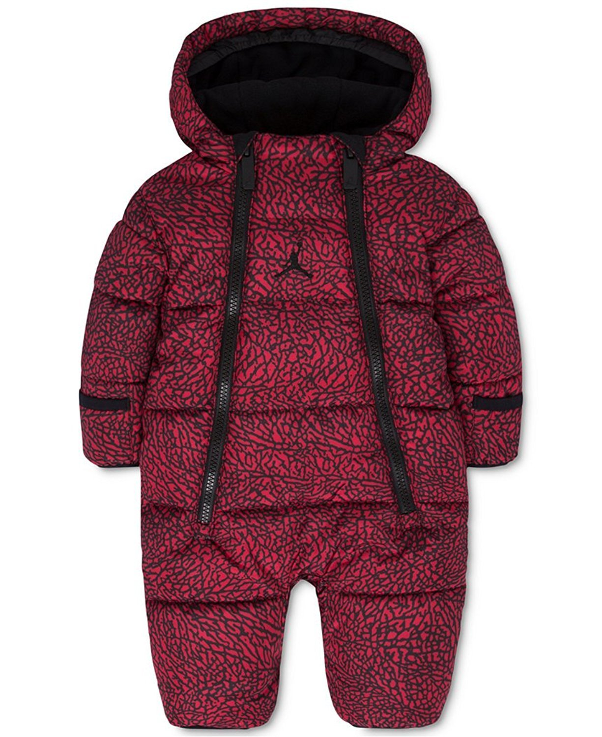 Jordan Baby Boys or Baby Girls Hooded Abstract-Print Snowsuit Bunting (0-3 Months, Gym Red (R78) / Black/Gym Red)