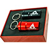 Cool Set of 2 Smell-Proof Airtight Stash Jars, Waterproof Containers for Weed, Herbs and Tobacco with Keychain and Gift Box, Perfect as Secret Mini Travel Stash Box, Black, and Red by Green-Der