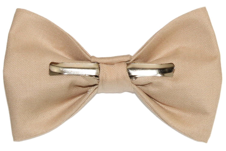 Boys Khaki//Beige Clip On Cotton Bow Tie Bowtie amy2004marie