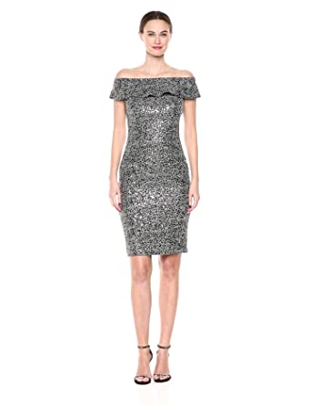 fc10025b Alex Evenings Women's Short Off The Shoulder Dress with Sequin Detail,  Gunmetal 4