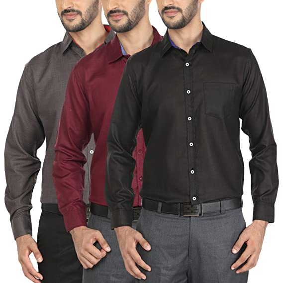 df9f47df548 Mark Pollo Cotton Rich Fabric with Linen Look Slim Fit Formal and Semi  Formal Combo of 3 Shirts for Men (Light Grey