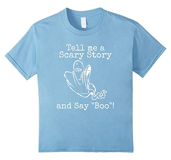 Kids Halloween Scary Ghost Story Say Boo T Shirt 4 Baby Blue