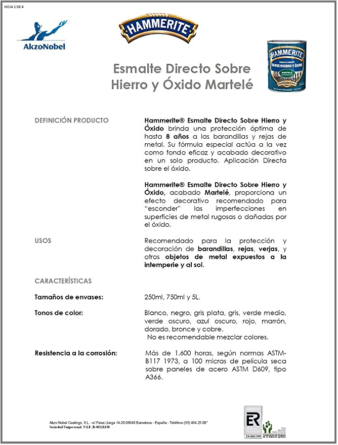 HAMMERITE - Esmalte Martele Gris Pl Hammerite 5 L: Amazon.es: Bricolaje y herramientas