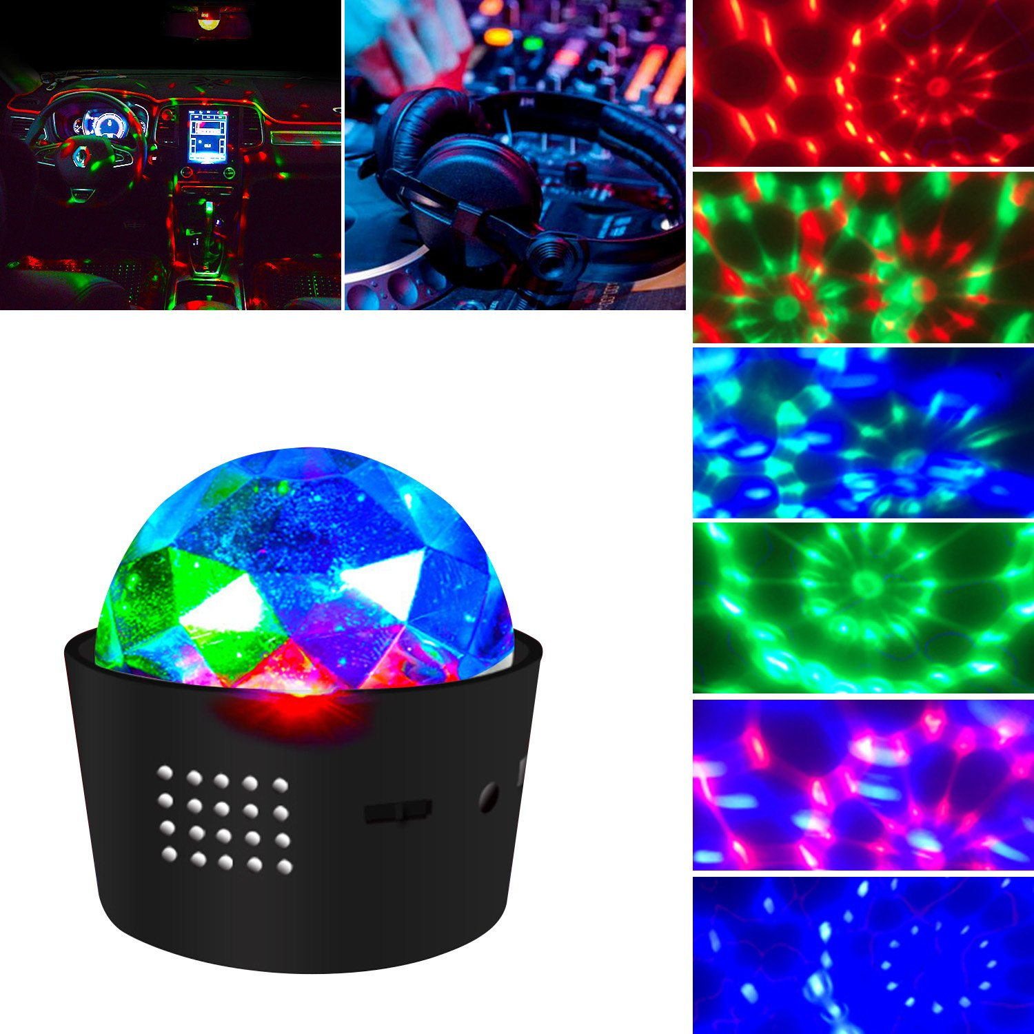 Portable Sound Activated DJ Light 3W Battery Operated Disco Ball Lamp Wireless 3 Colors Stage Lights for Home/Festival/Party/Club/Wedding (Mode1) by Firestrive