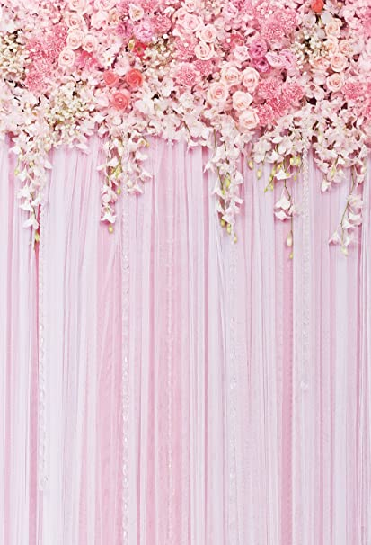 Pink Flowers Backdrop Photography Background Wedding Floral Backdrops Dessert Table Decor Birthday Banner