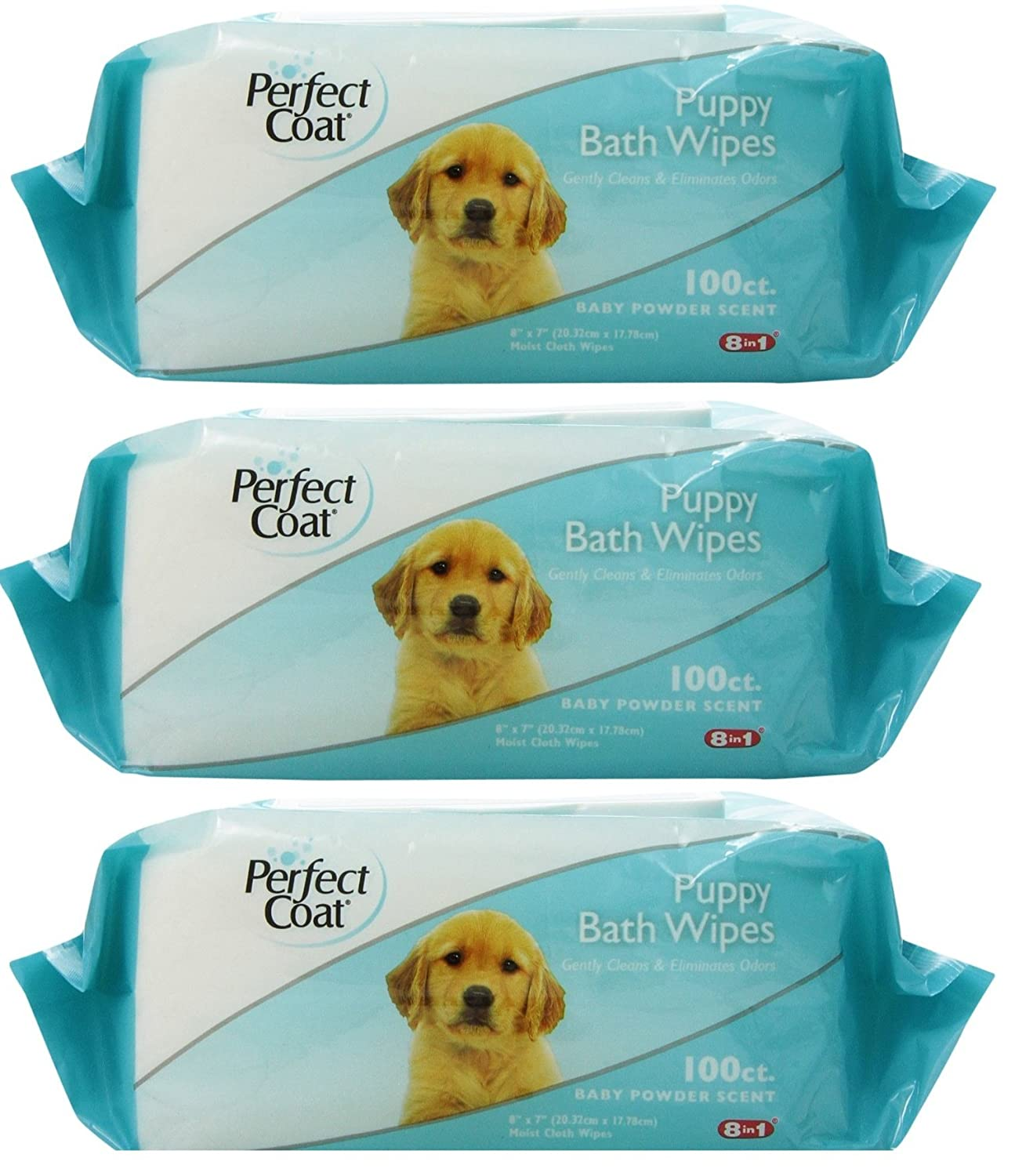 8in1 Perfect Coat Bath Wipes Tub 300 Total (3 Packs with 100 Wipes per Pack)