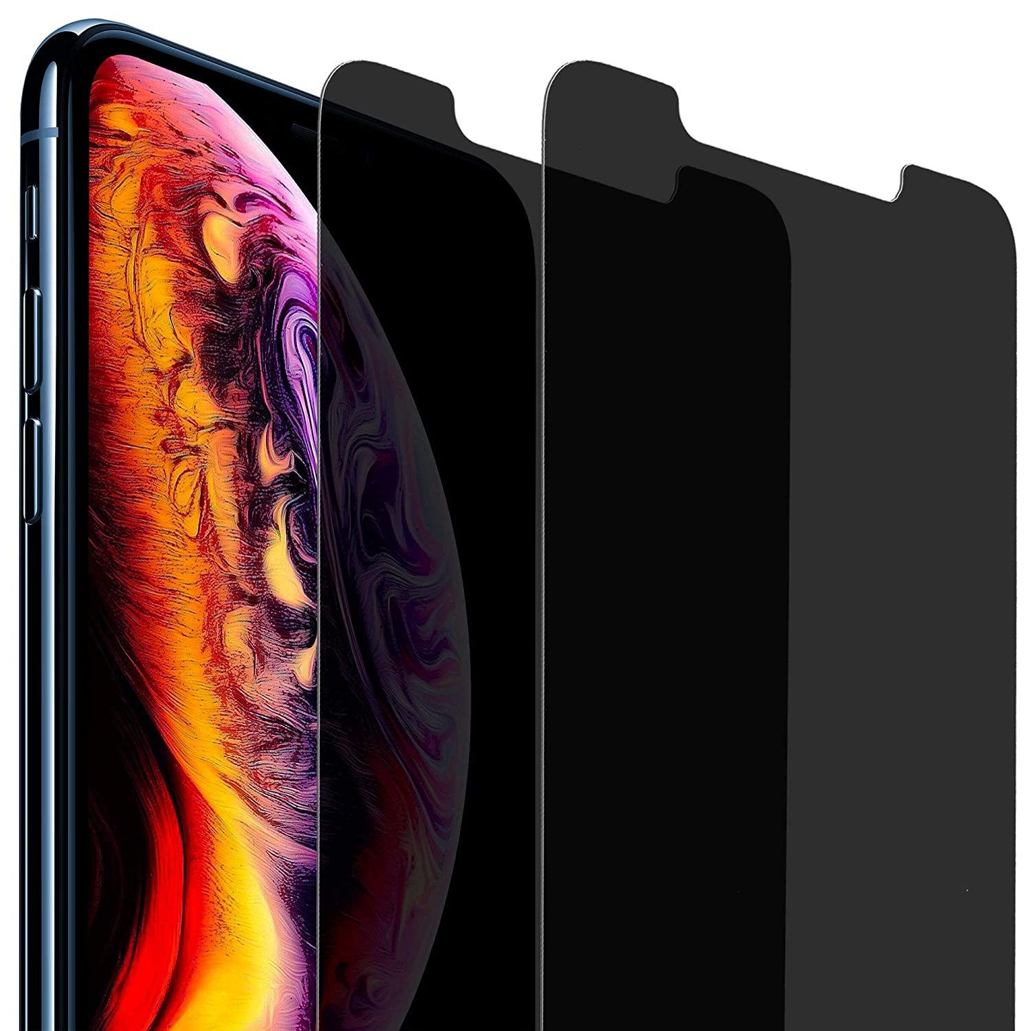Privacy Screen Protector for Apple iPhone Xs Max, 6.5 Inches, Anti-Spy Tempered Glass Film, 2-Pack Blitzby 1