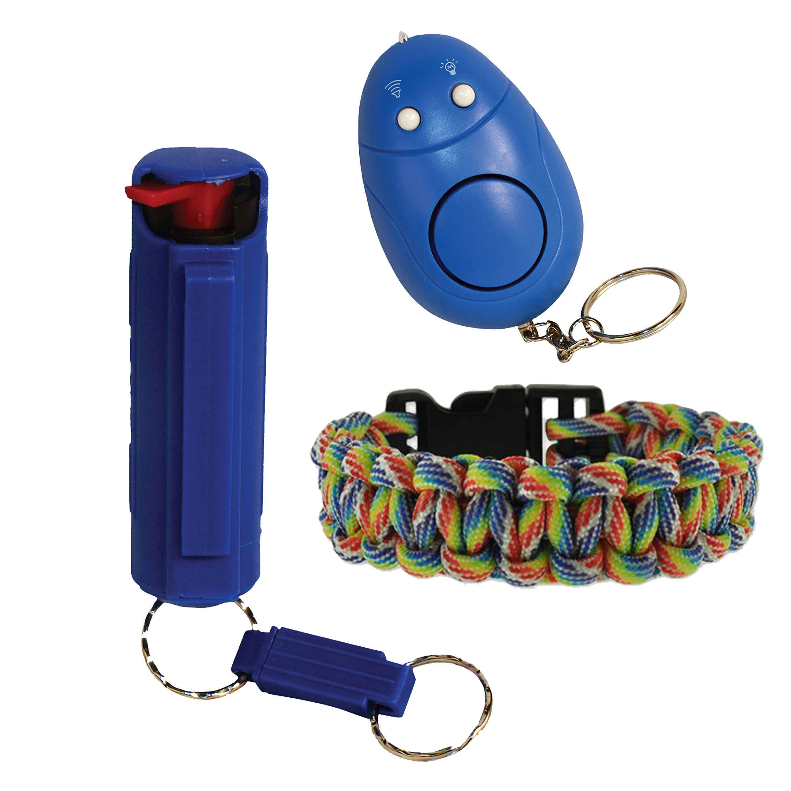 Pepper Shot College Safety Bundle 1/2 10% Pepper Spray, Multi Color Paracord Bracelet and a Personal Alarm - Lot of 3 as Shown