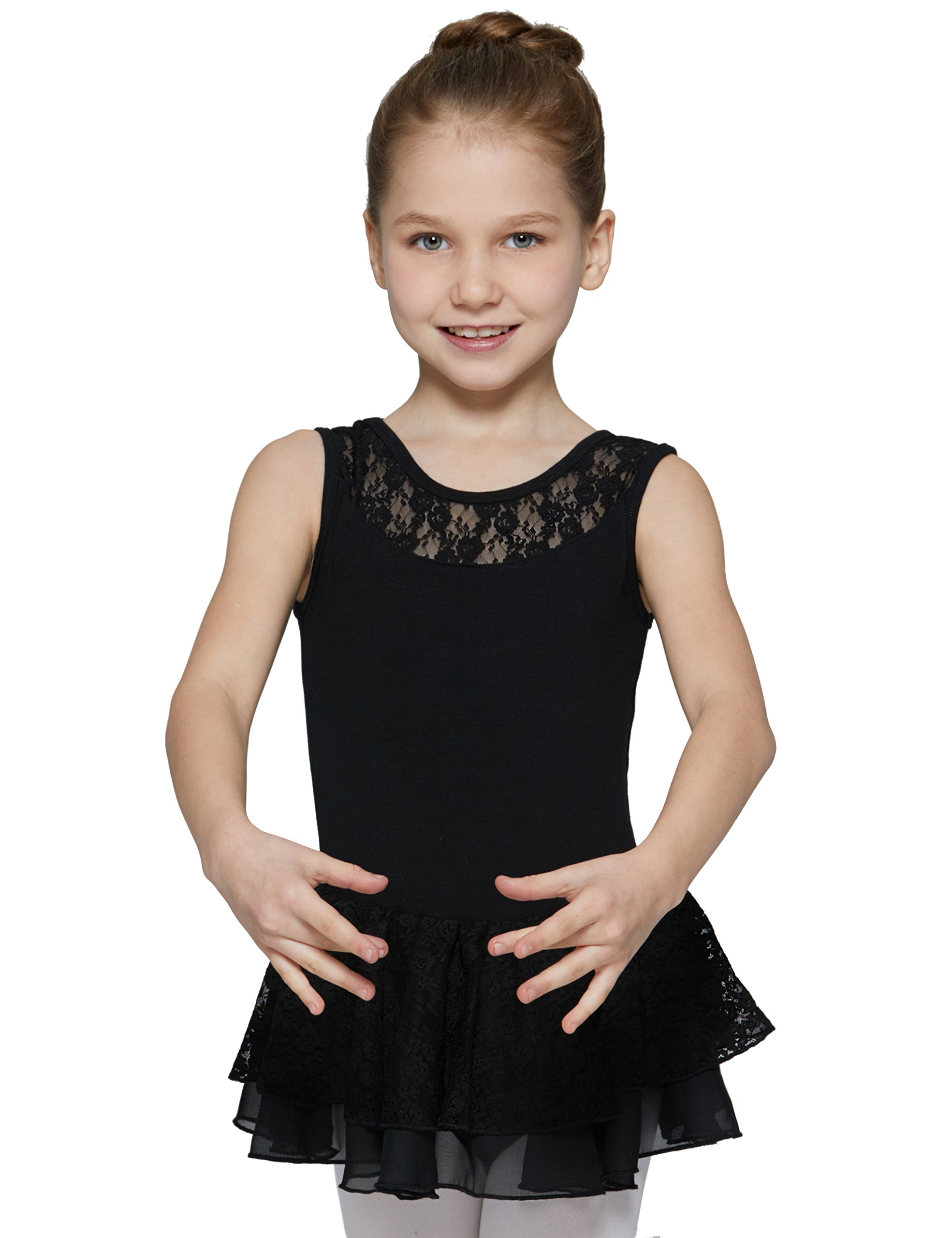 Leotard for Girls with Attached Lace Skirt (Black, Age 6-8,Height 49-52'')