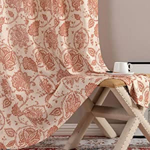 jinchan Floral Scroll Printed Linen Curtains, Grommet Top - Ikat Flax Textured Medallion Design Jacobean Floral Printed Retro Curtain Panels (Poppy Red, 50-by-90 Inch, 2 Panels)