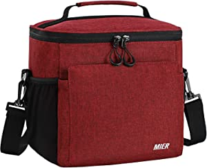 MIER Insulated Lunch Bag Men and Women Soft Cooler Lunch Box Tote with Shoulder Strap, Leakproof Liner, 24 Can, Dark Red