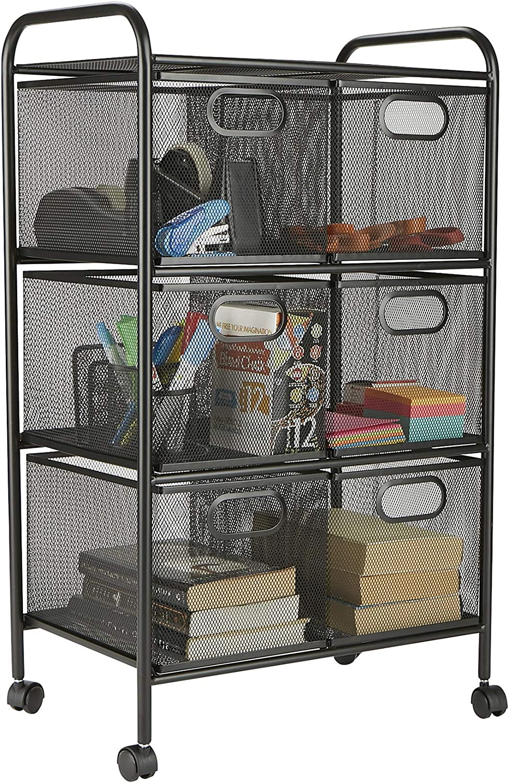 Mind Reader 6DRMESH-BLK 6-Drawer Storage Bin Organizer, Multi-Purpose Cart, Black