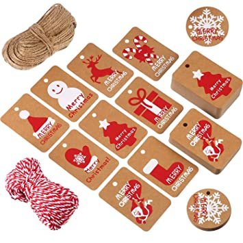 200 Pieces Kraft Paper Gift Tags Crafts Hang Label Holiday Tag In 10