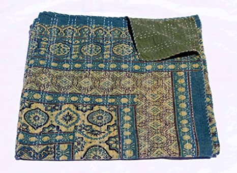 Handmade Kantha  Indian Kantha  Handmade Quilt  Throw Made Of Cotton  Hand Block Print  Natural Dye Throw