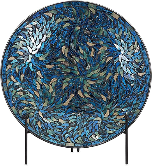 IMAX Corporation Peacock Mosaic Charger and Stand in Blue