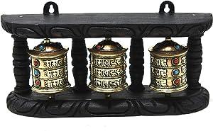 Tibetan Om Mani Padme Hum Hand Held Wall Hanging Prayer Wheel - Brass and Wood Hand Crafted in Nepal