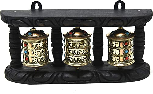 Tibetan Om Mani Padme Hum Hand Held Wall Hanging Prayer Wheel