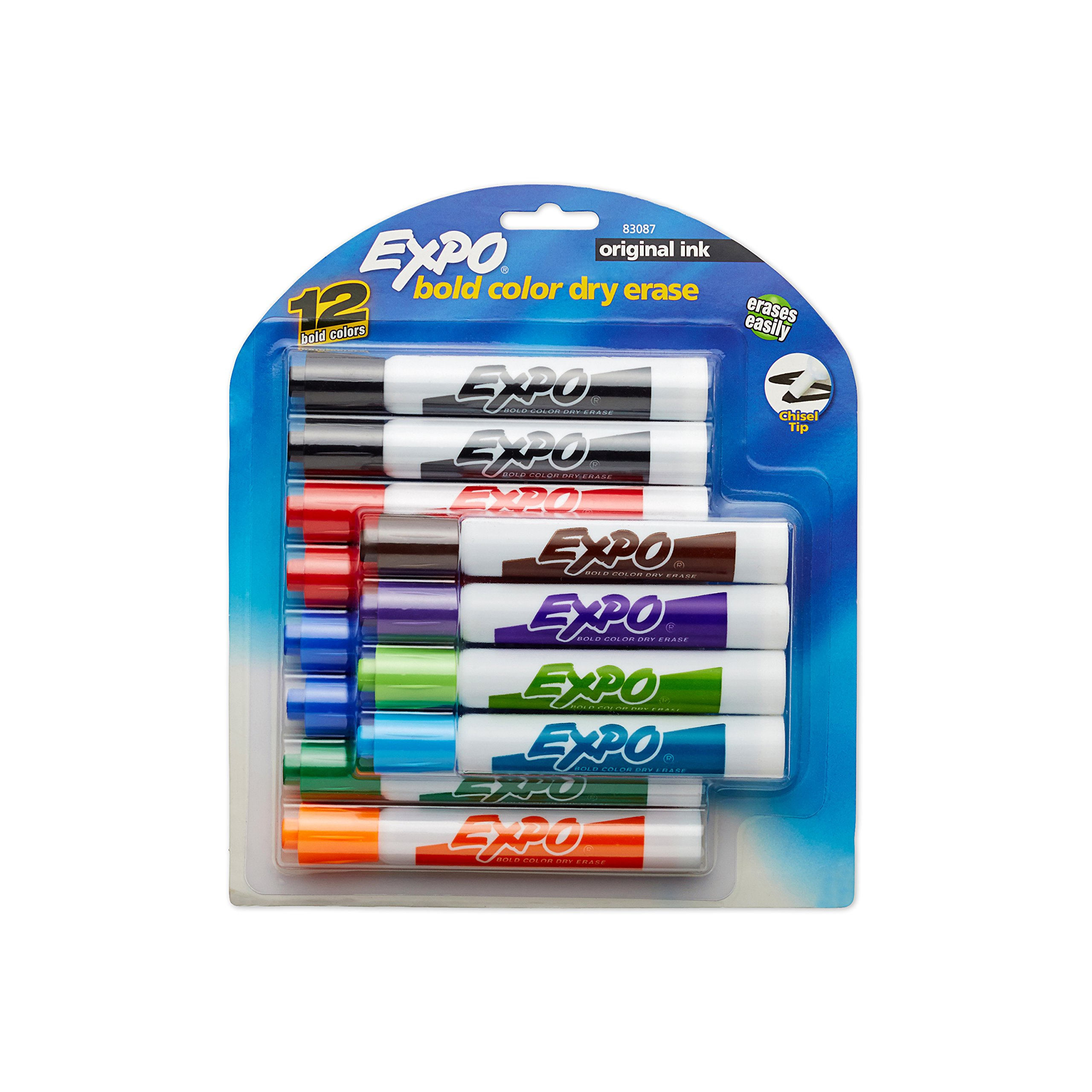 EXPO Original Dry Erase Markers, Chisel Tip, Assorted Colors, 12-Count