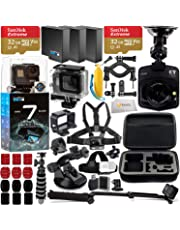 $429 Get GoPro HERO7 Hero 7 Black Action Camera with Promotional Dash Cam and Deluxe Accessory Bundle – Includes: 2X SanDisk Extreme 32GB microSDHC Memory Card, 2X Spare Batteries, Underwater Housing & More