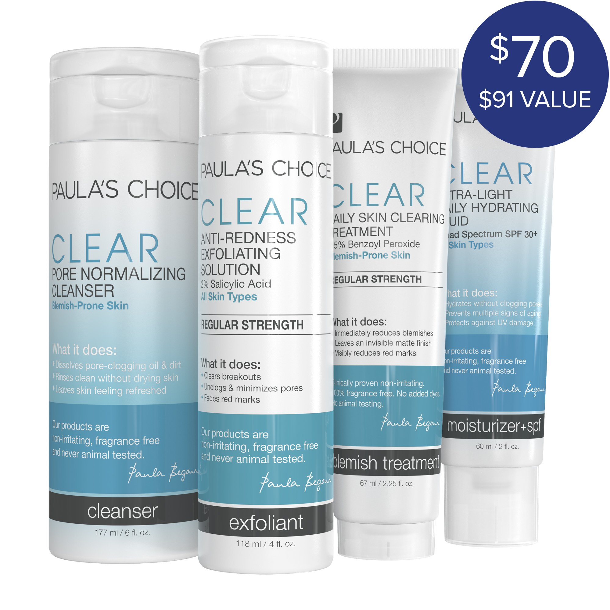 Paula's Choice-CLEAR Regular Strength Kit and Ultra-Light Daily Fluid SPF 30+ Anti-Aging Moisturizer Blemish-Fighting Skin Care Products Plus Face Moisturizer with Sunscreen