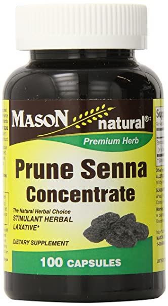 Mason Natural, Prune Senna Concentrate Capsules, 100 Count, Dietary Supplement, may support