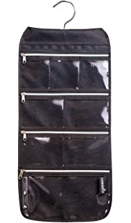 MISSLO 8 Zippered Pockets Travel Jewelry Roll up Organizer with Rotatable  Hanger (Black) 686690b854d6f