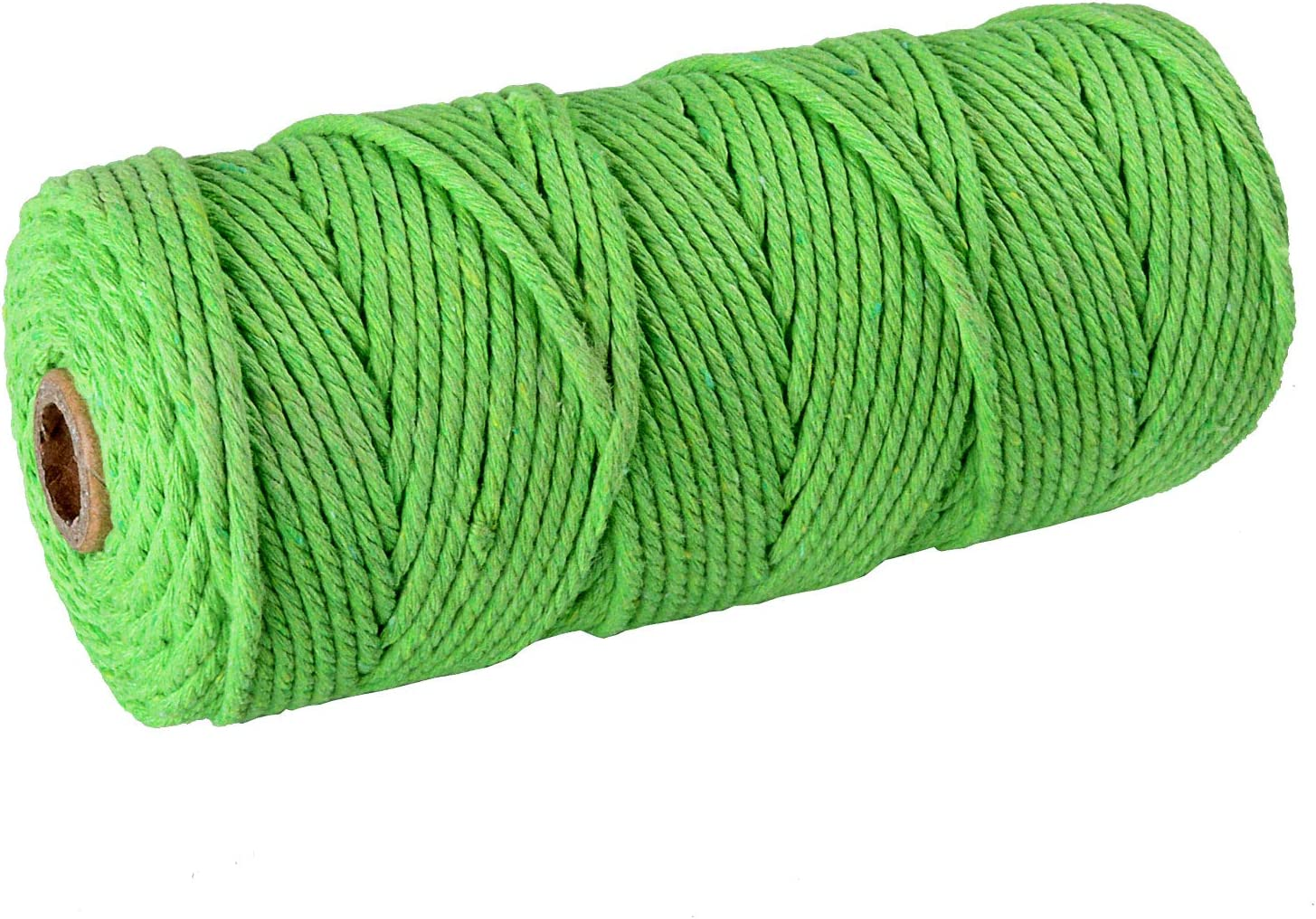 SUNTQ Macrame Cord 4-Strand Twisted Polyester Cotton Soft Cotton Rope for Handmade Plant Hanger,Wall Hanging,Crafts,Knitting,Decorative Projects Apple Green Color Cotton String 3mm x 328 Feet