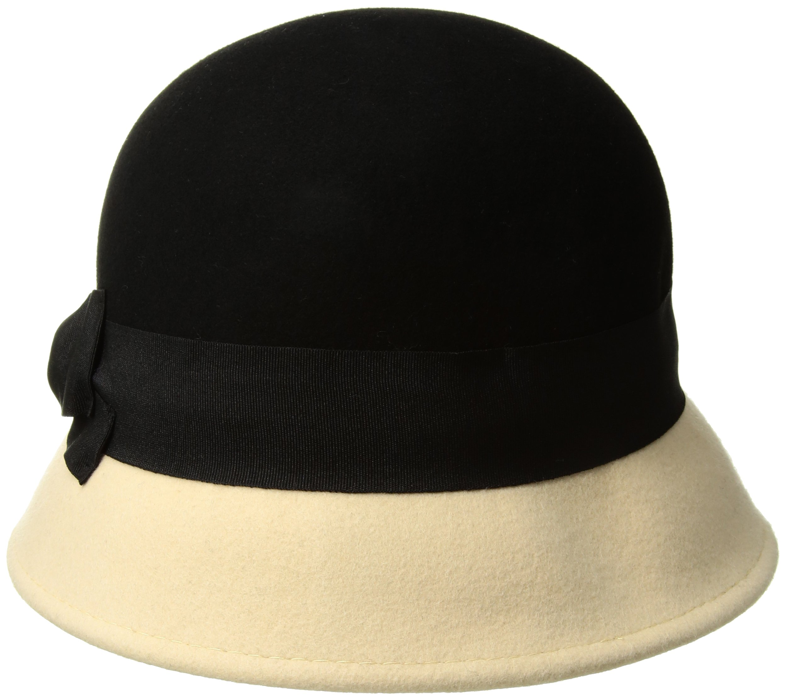 San Diego Hat Company Women's 2 Inch Brim Wool Color Block Cloche Hat with Grossgrain Bow, Black, One Size