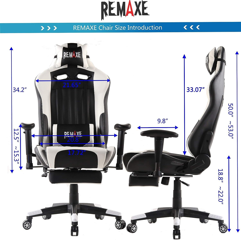 Bianco poggiatesta e Cuscino massaggiante Lombare Remaxe Sedia Gaming Gioco Sedie da Ufficio Girevole Ergonomica Poggiapiedi Retrattile Poltrona di PU